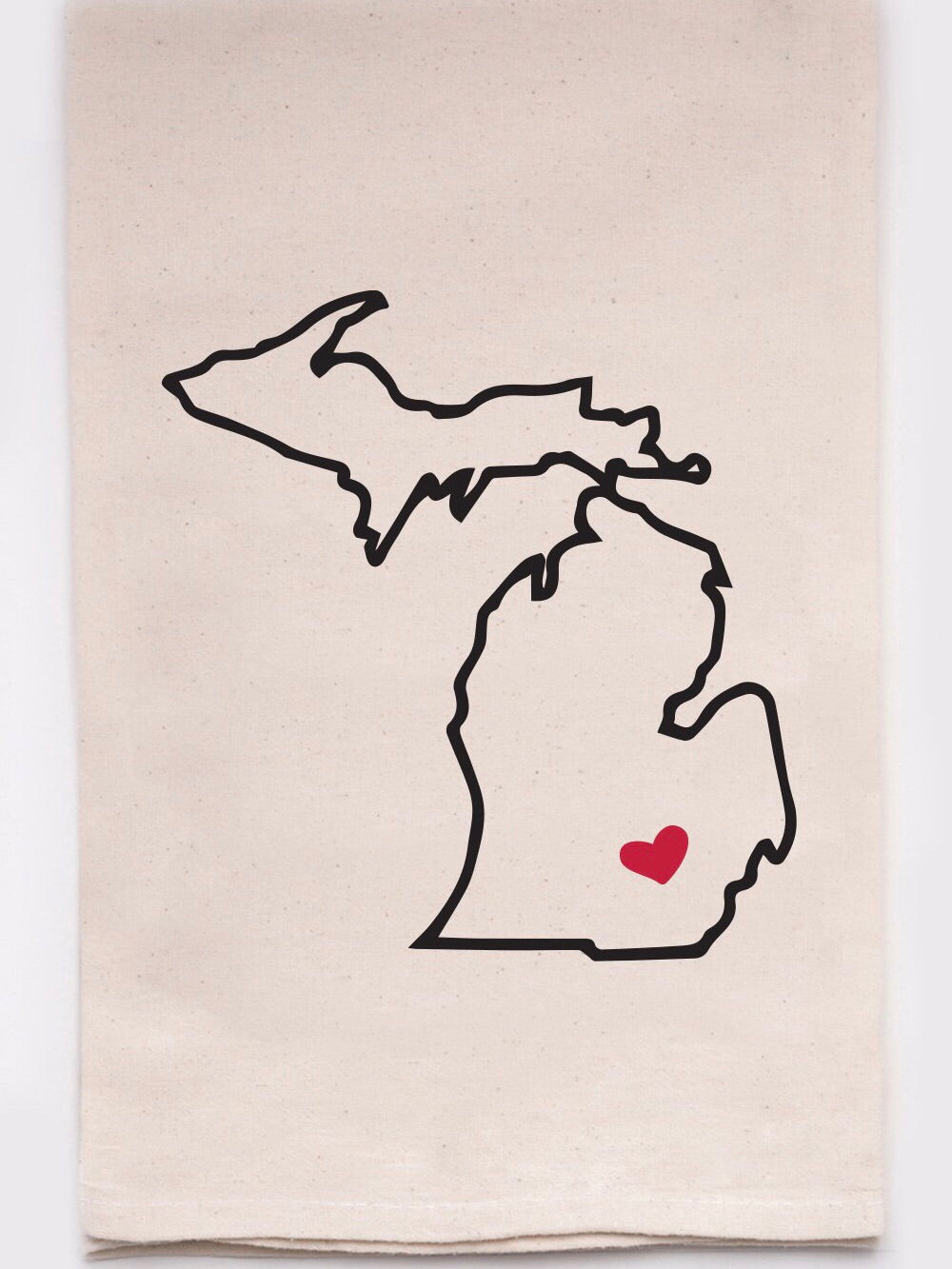 Michigan Heart Pin Dish Towel