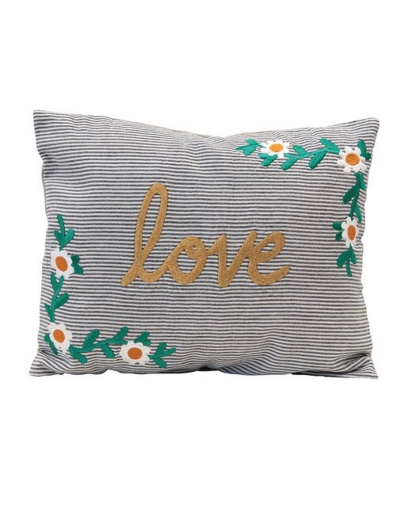 Love Embroidered Metallic Pillow