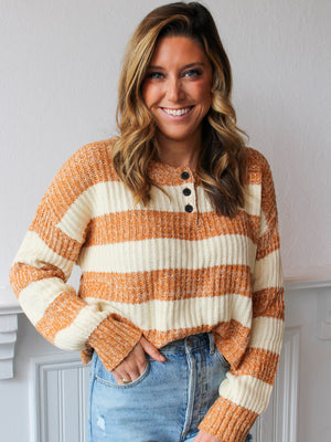 Pumpkin Patch Cropped Henley Sweater