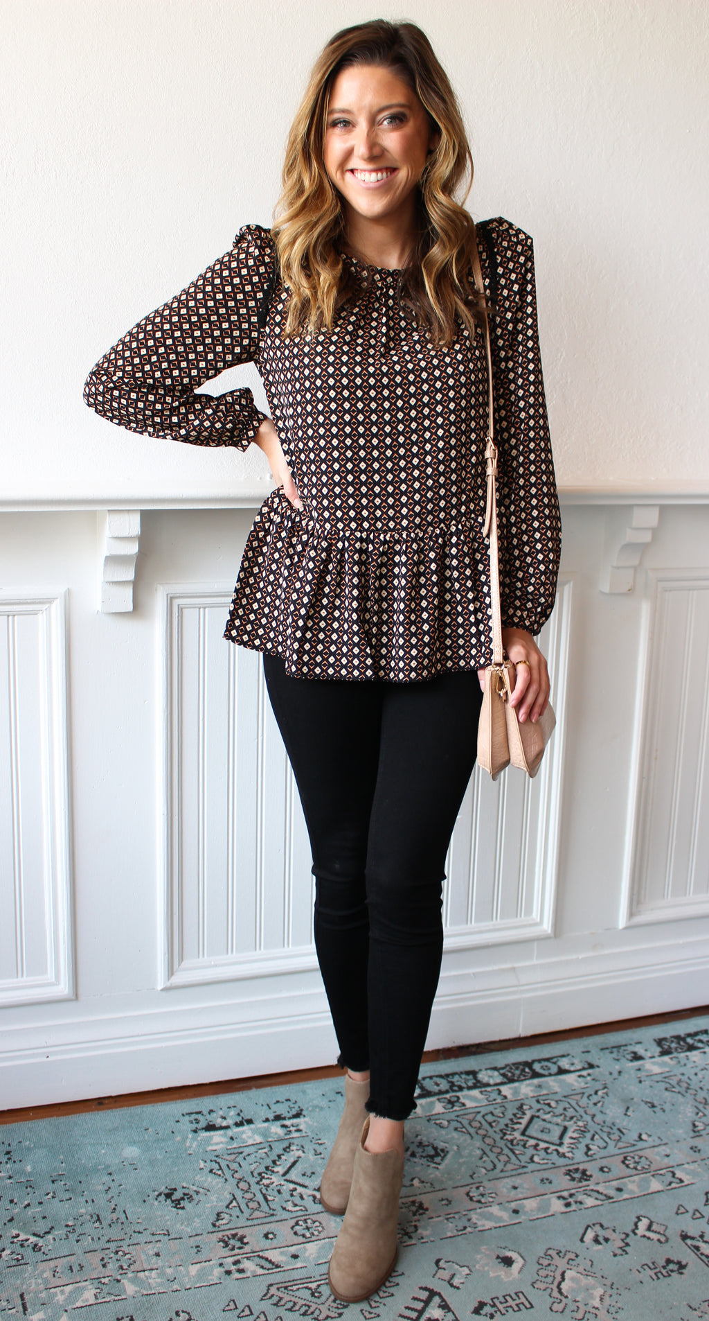Patterned Peplum Top