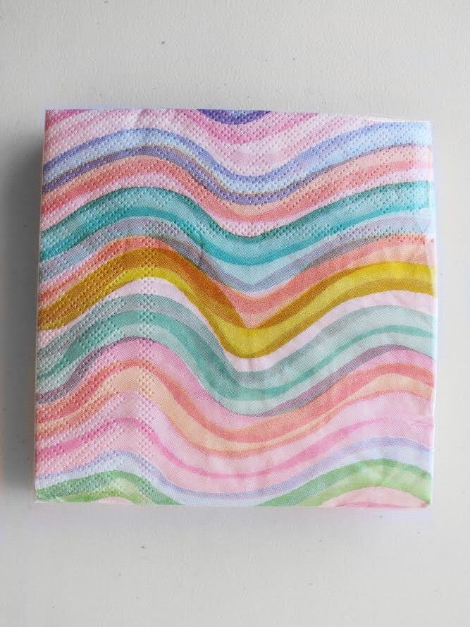 Watercolor Waves Cocktail Napkin