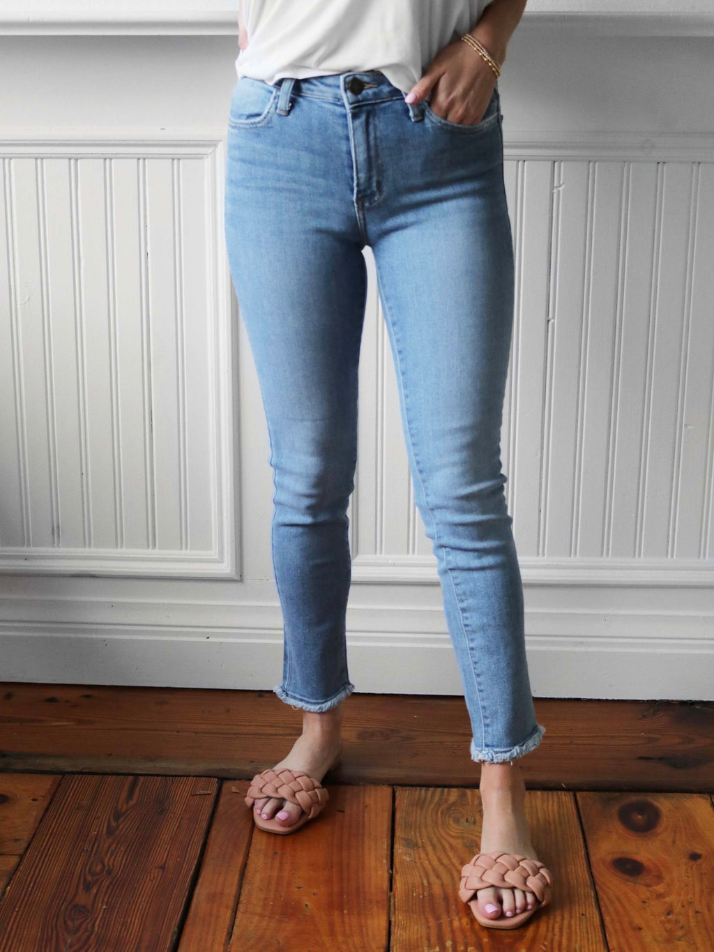 Just Black Frayed High Rise Skinny Jeans - Light Wash