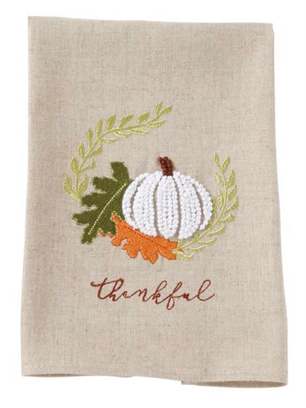 Thankful Embroidered Tea Towel