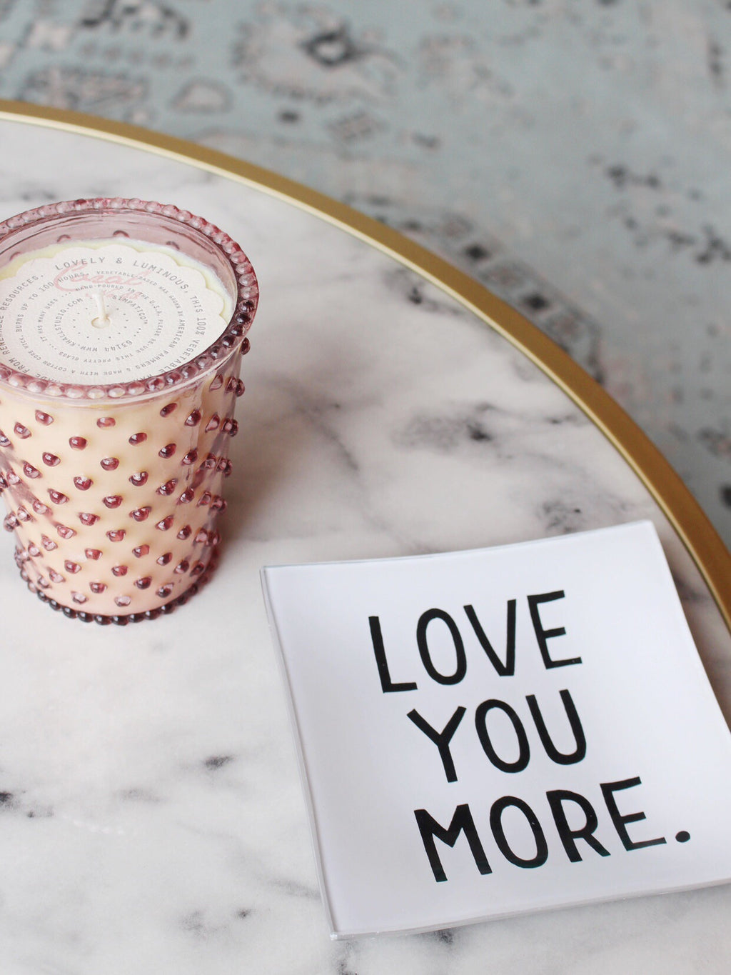Love You More Decoupage Glass Tray
