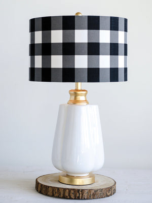 Ceramic Lamp with Black and White Shade