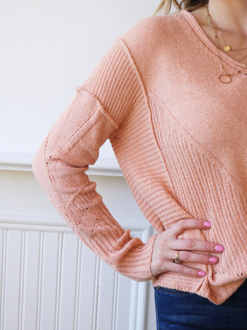 Just Peachy V-Neck Sweater