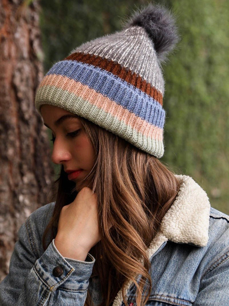 Seeing Stripes Pom Beanie