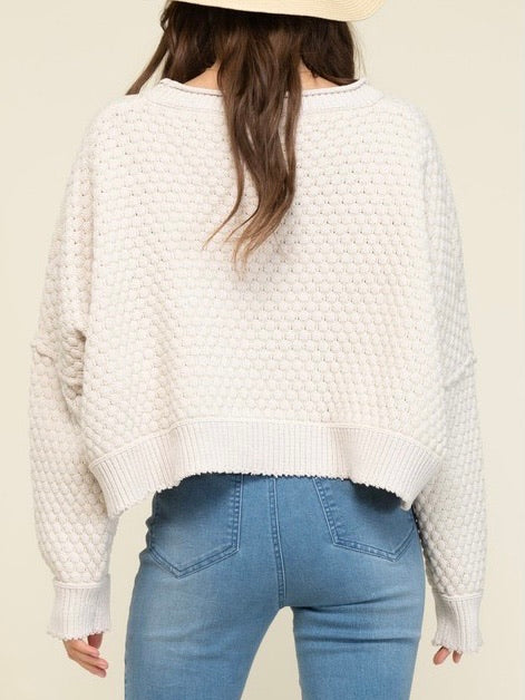 Grab the Popcorn Cropped Sweater - Ivory