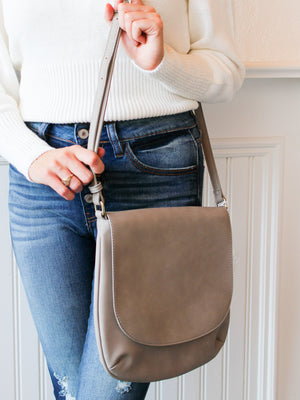 Jackie Large Flap Shoulder Bag - Grey