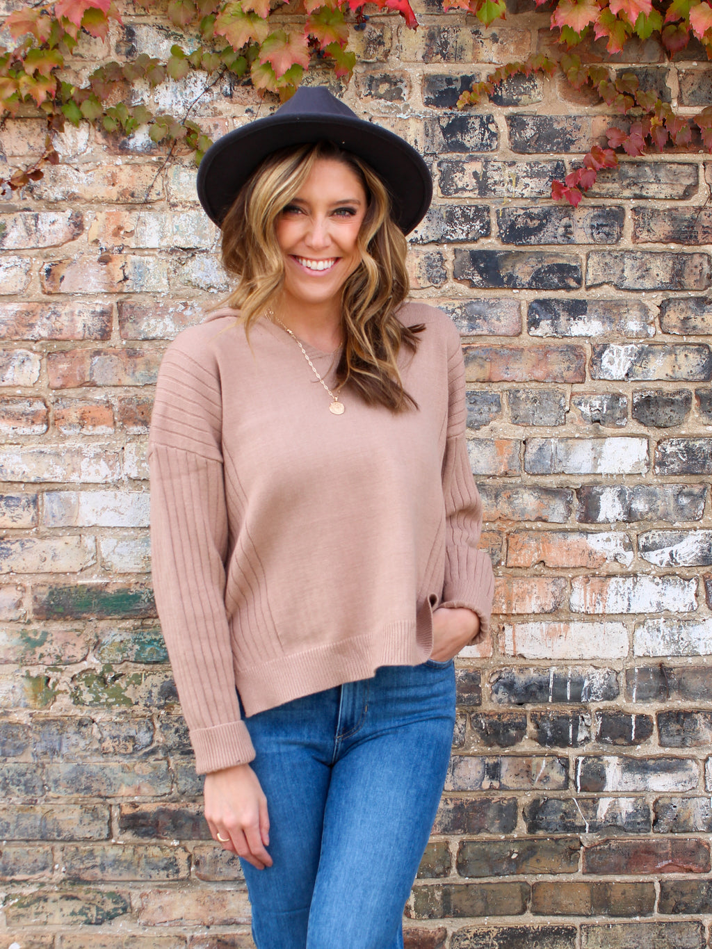 Simply Sweet Hooded Sweater - Taupe