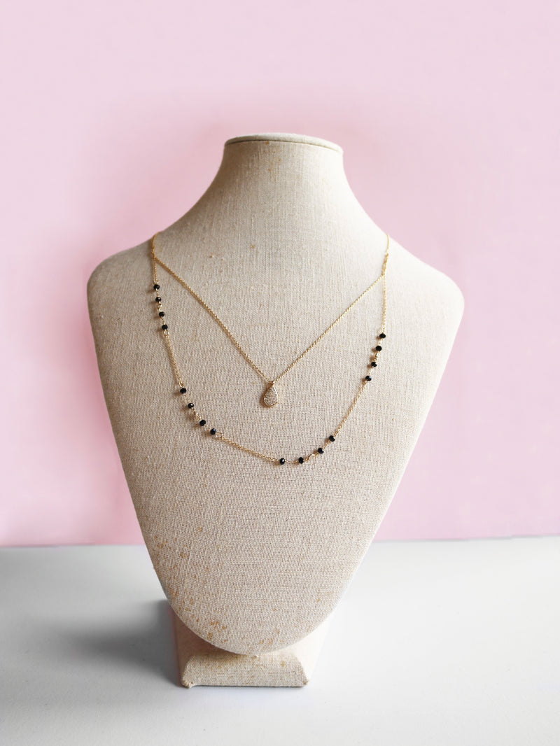 Double Chain Teardrop Necklace
