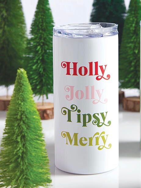 Holly Jolly Tipsy Merry Travel Tumbler