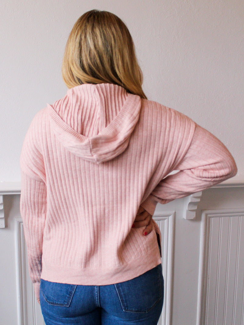 Simply Sweet Hooded Sweater - Blush