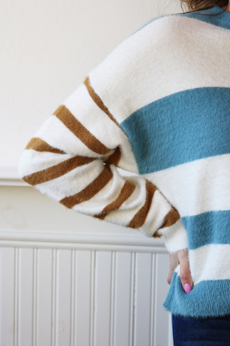 Fuzzy Knit Multi Striped Sweater - Blue/Mustard