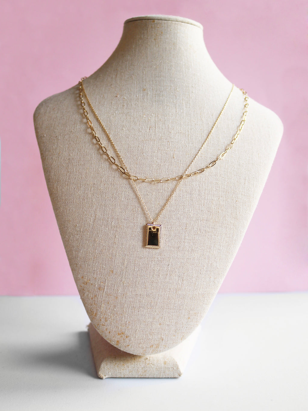 Paperclip & Rectangle Pendant Necklace