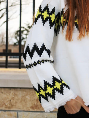 Zig Zag Turtleneck Sweater