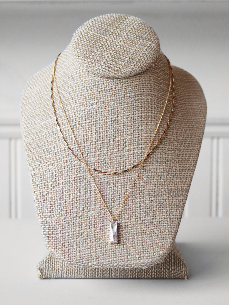 Vertical Baguette Layering Necklace