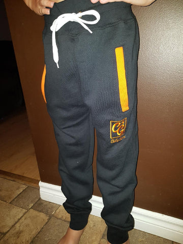 Black Track Pants with orange Trim