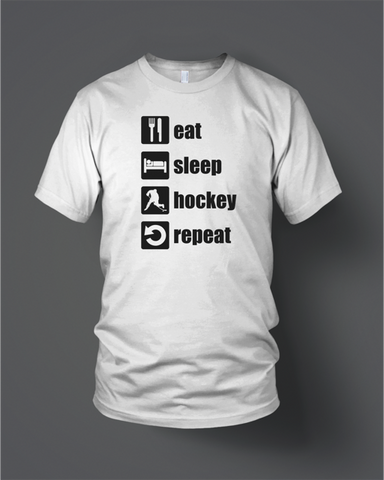 Eat Sleep Hockey White with Black