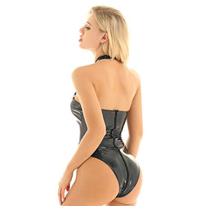 CHICTRY Women's Wet Look Leather Halter Bodysuit Zipper Crotch Mesh Patchwork Leotard Catsuit Clubwear
