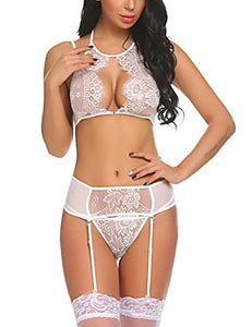 Avidlove Women Lace Lingerie Set with Garter Belts Lace Teddy Babydoll Bodysuit