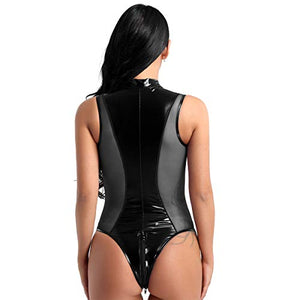 winying Womens Shiny Metallic Patent Leather Splice Zipper Crotch High Cut Thong Leotard Bodysuit Swimsuit