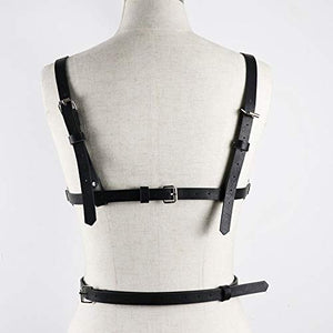 Topfur women's leather harness Garter Belt Body Chain Adjustable with Buckles