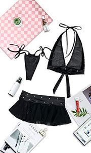 SoulBuds Lingerie Set for Women 3 Pieces Halter Top and Mini Skirt with G-String Pant Black