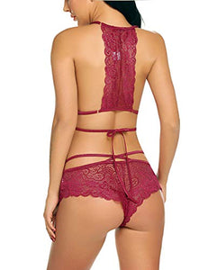 Avidlove Sexy Bra and Panty Set Lace Lingerie Strappy Babydoll Bodysuit 2 Piece Outfits