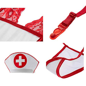 EDENIGHT Nurse Costume Women Lingerie Outfit Cosplay Nightwear with Stethoscope