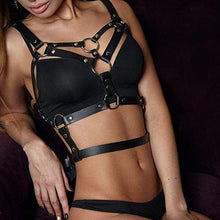 Load image into Gallery viewer, Topfur women's leather harness Garter Belt Body Chain Adjustable with Buckles