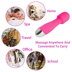 Pheiho Wireless Wand Massager for Relieves Stress, Handheld Personal Massager withPowerful Multi Speed Vibration Small Rechargeable Waterproof Massage Wand