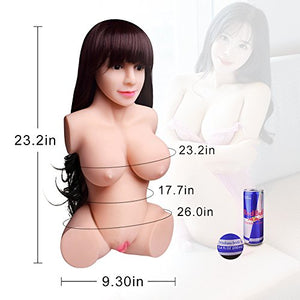 Love Doll Adult Male Toys Men's 3D Realistic Lifelike Silicone Love Toys, Pussy Ass Massager Toys for Male (Fullbody, 23×11×7)