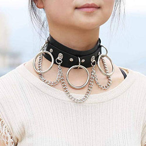 BeeGift Leather Choker Collar for Women, Sexy Vintage Cat Punk Goth Studded Rivet Pu Leather Collar Choker Adjustable Necklace for Women Girls
