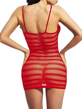 Load image into Gallery viewer, Amoretu Womens Fishnet Lingerie Striped Mini Dress Strap Chemise