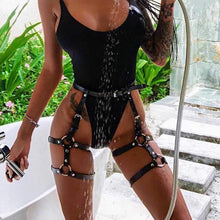 Load image into Gallery viewer, Zoestar Sexy Leather Garters Belt Punk Leg Harness Adjustable Waist Cage for Women