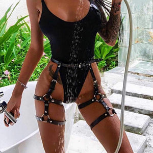 Zoestar Sexy Leather Garters Belt Punk Leg Harness Adjustable Waist Cage for Women
