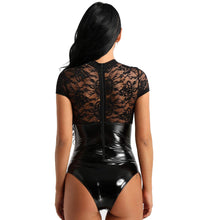 Load image into Gallery viewer, Agoky Women's Lingerie Lace Cup Bodysuit Back Zipper Teddy Wet Look Leather Corset Top