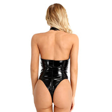 Load image into Gallery viewer, ACSUSS Women's Shiny Leather Bodysuit Leotard Zipper Crotch Thong Catsuit Clubwear