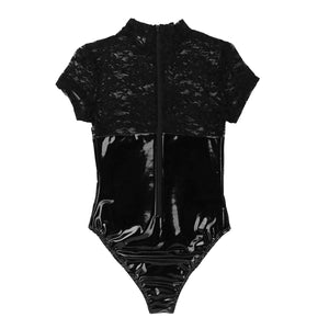Agoky Women's Lingerie Lace Cup Bodysuit Back Zipper Teddy Wet Look Leather Corset Top