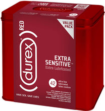 Load image into Gallery viewer, Condoms, Natural Lubricated Latex, Extra Sensitive, Ultra Fine, Durex RED 42 Count (Pack of 1), HSA Eligible