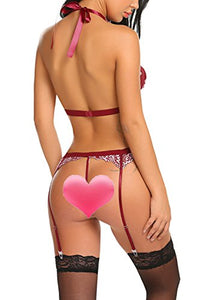 wearella Women Lace Lingerie Set with Garter Belt Strap Bra and Panty Babydoll