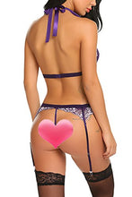 Load image into Gallery viewer, wearella Women Lace Lingerie Set with Garter Belt Strap Bra and Panty Babydoll