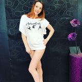 White Batwing Aerialist Top with Black Glitter