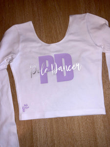 White and Lilac PD Long Sleeve Crop
