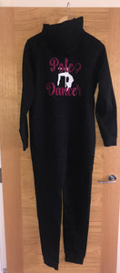 Black Pole Dancer Onesie in Double Glitter