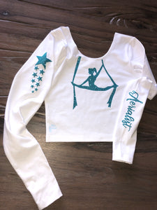 White Long Sleeve Crop with Aerial Silks Design
