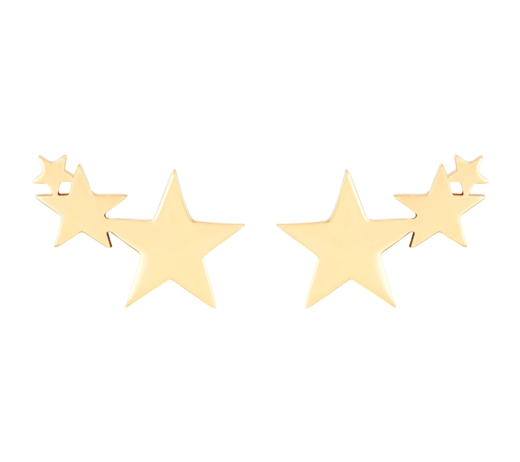 3 STARS STUDS - YELLOW GOLD