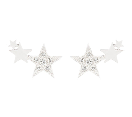 3 STARS STUDS WITH DIAMONDS - WHITE GOLD