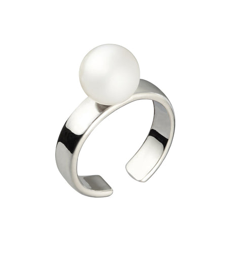 CUFF RING WITH PEARL - SILVER